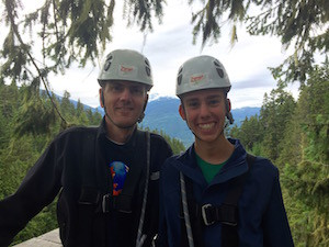 Jeff and Justin zip-lining during Mozilla Work Week in Whistler