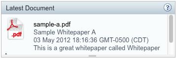 Screenshot: Get Latest Document Dashlet