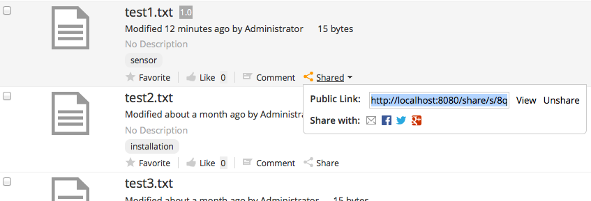 The Quick Share feature in Alfresco Share